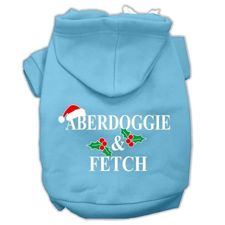 Aberdoggie Christmas Screen Print Pet Hoodies Baby Blue Size M (12)