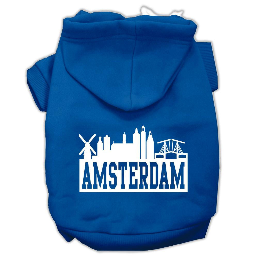 Amsterdam Skyline Screen Print Pet Hoodies Blue Size XL (16)