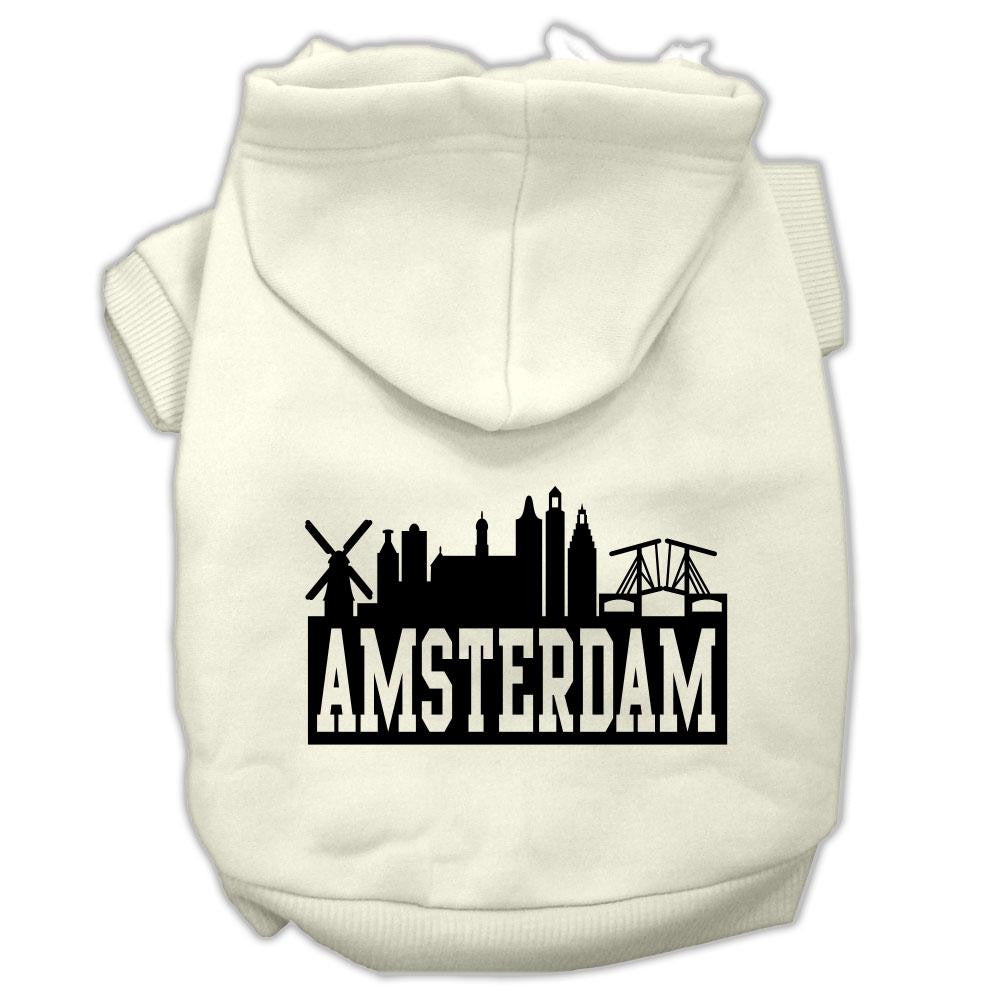 Amsterdam Skyline Screen Print Pet Hoodies Cream Size XL (16)