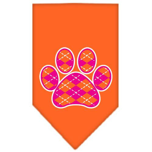 Argyle Paw Pink Screen Print Bandana Orange Small