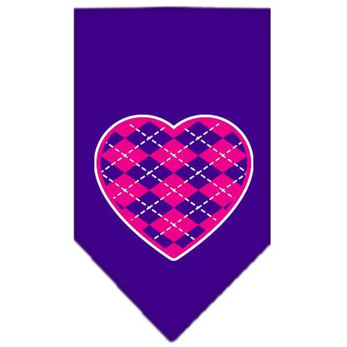 Argyle Paw Pink Screen Print Bandana Purple Small