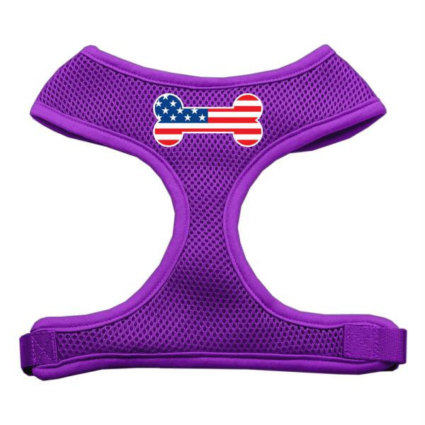 Bone Flag USA Screen Print Soft Mesh Harness Purple Small