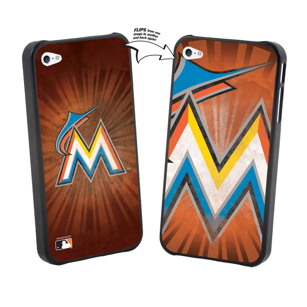 Iphone 44S MLB Miami Marlins Large Logo Lenticular Case