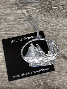 Pewter Ornament Schooner/Lighthouse Lunenburg, NS