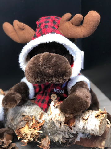 "Plush Moose w/Plaid Jacket 11"" NS"