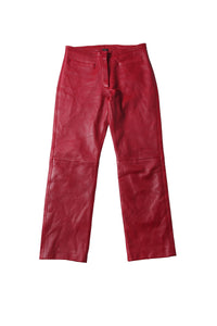 VINTAGE red leather pants