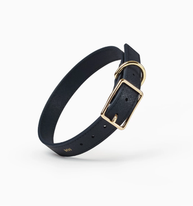 Classic Navy Leather Collar
