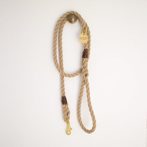All Weather: Sand Brown + Brass Rope Dog Leash