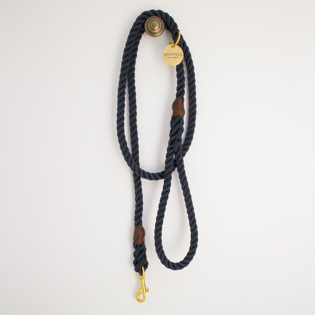All Weather: Royal Navy + Brass Rope Dog Leash