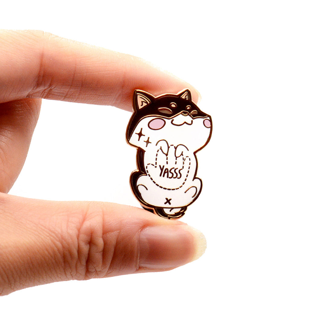 "Black & Tan Shiba Inu Belly Rub ""Yasss"" Enamel Pin"