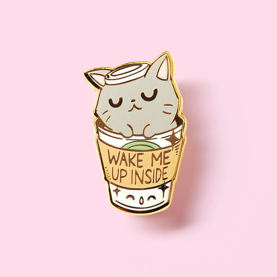 """Wake Me Up Inside"" Coffee Cat Enamel Pin"