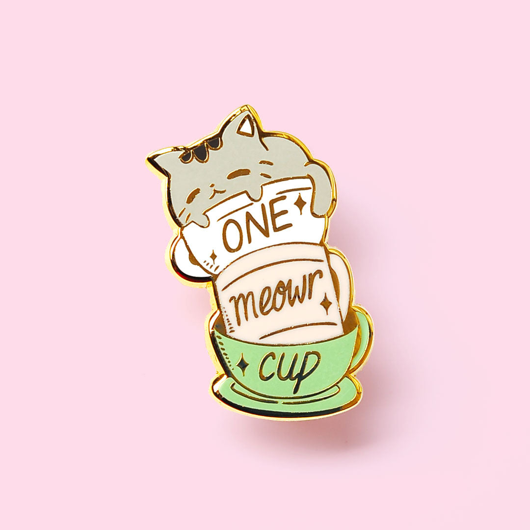 One Meowr Cup Cat Enamel Pin