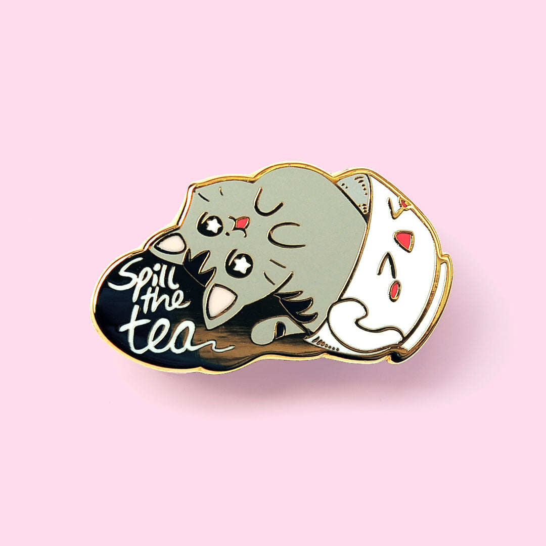 Spill the Tea Cat Enamel Pin
