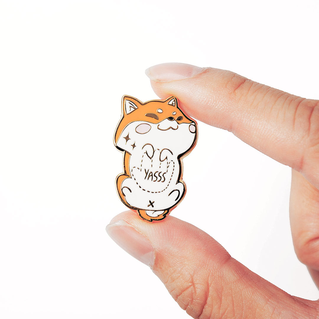 "Red Shiba Inu Belly Rub ""Yasss"" Enamel Pin"