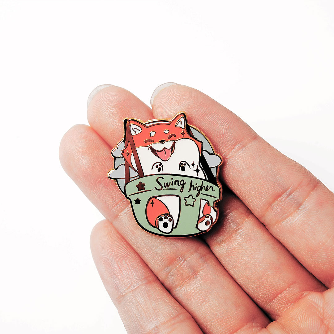 Red Shiba Inu Swing Higher Enamel Pin