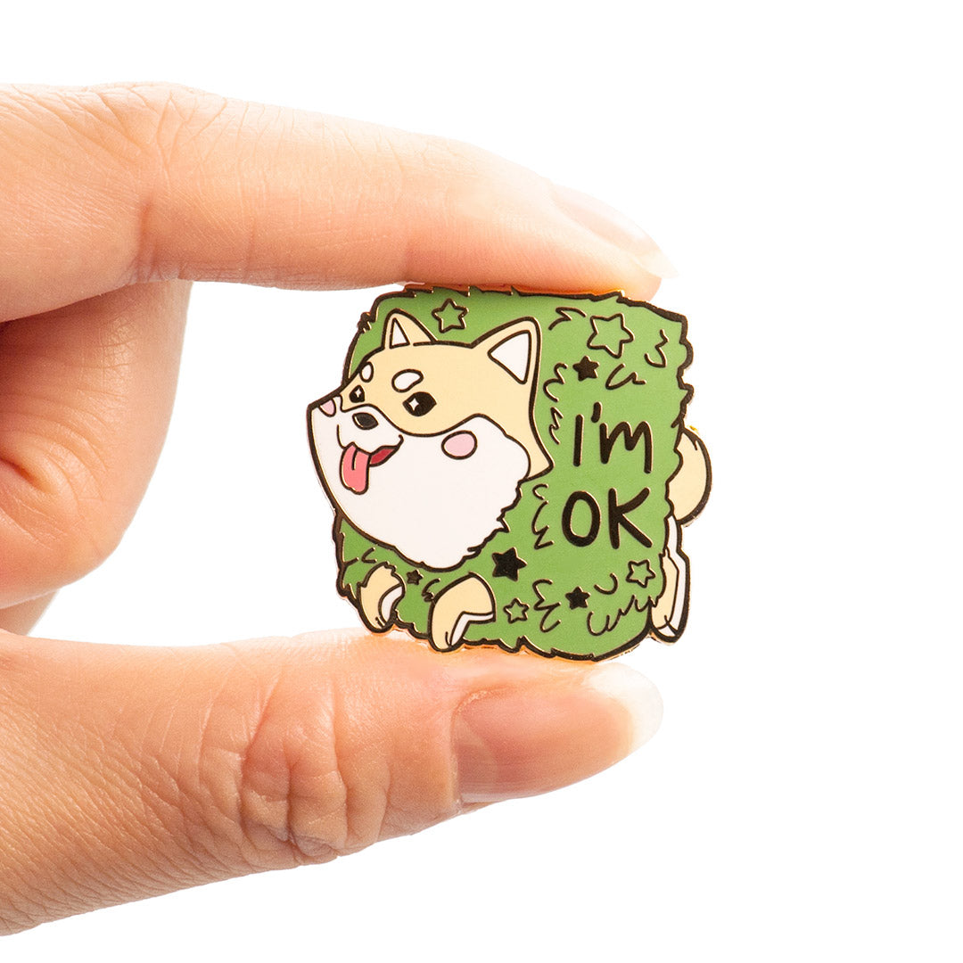 "Cream Shiba Inu Stuck in Bush ""I'm OK"" Enamel Pin"