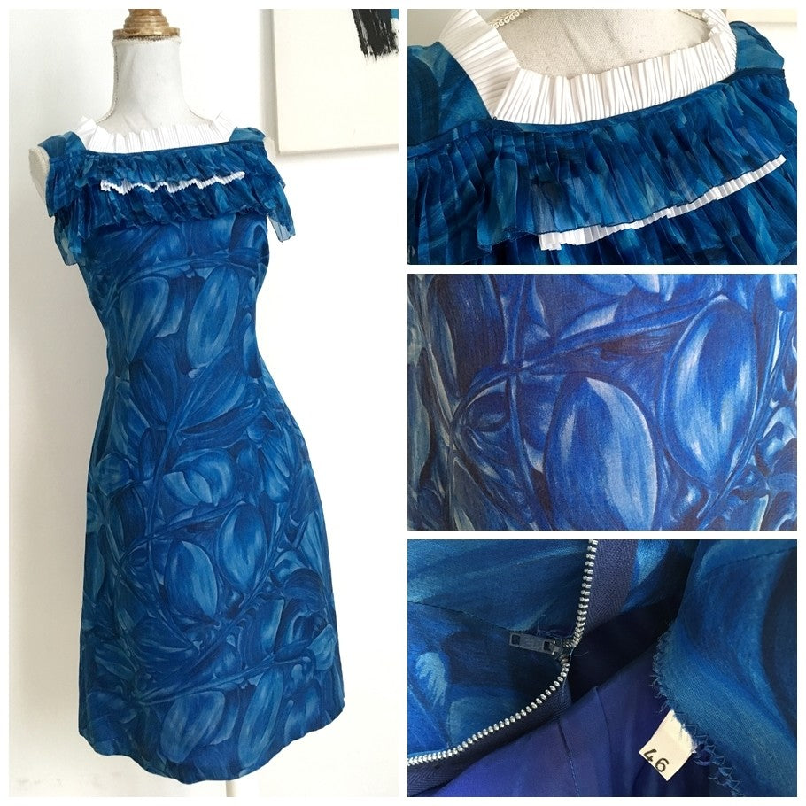 1960s - Precious Abstract Blue Cocktail Dress - W27 (68cm)