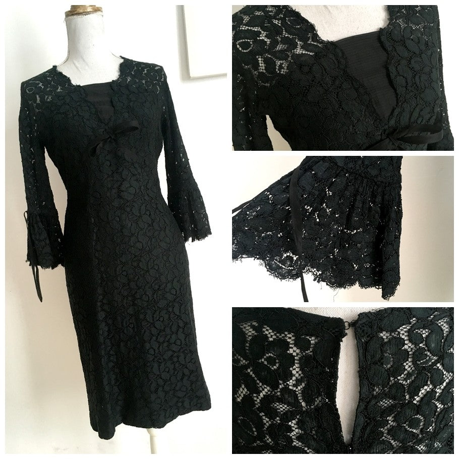 1960s - Black Lace Cocktail Dress - W27.5 (70cm)