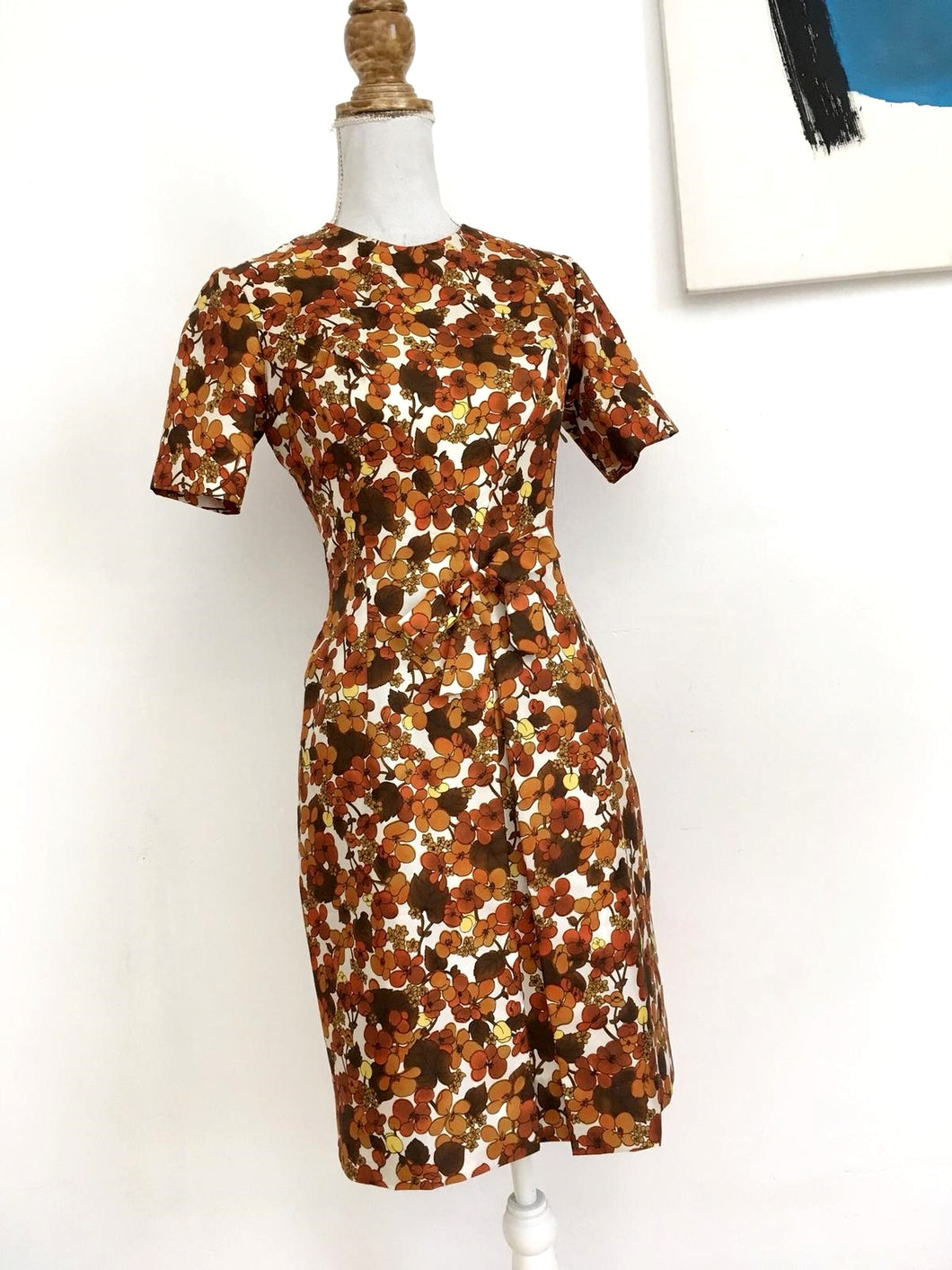 1960s - Stunning Autumn Satin Wiggle Dress - W28 (72cm)