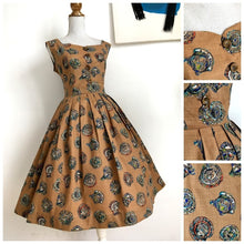 Load image into Gallery viewer, 1950s - Stunning Novely Print Ancient Plates Dress - W29 (74cm)
