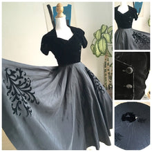 Load image into Gallery viewer, 1940s 1950s - Spectacular Black Full Circle Skirt Night Dress - W24 (60cm)