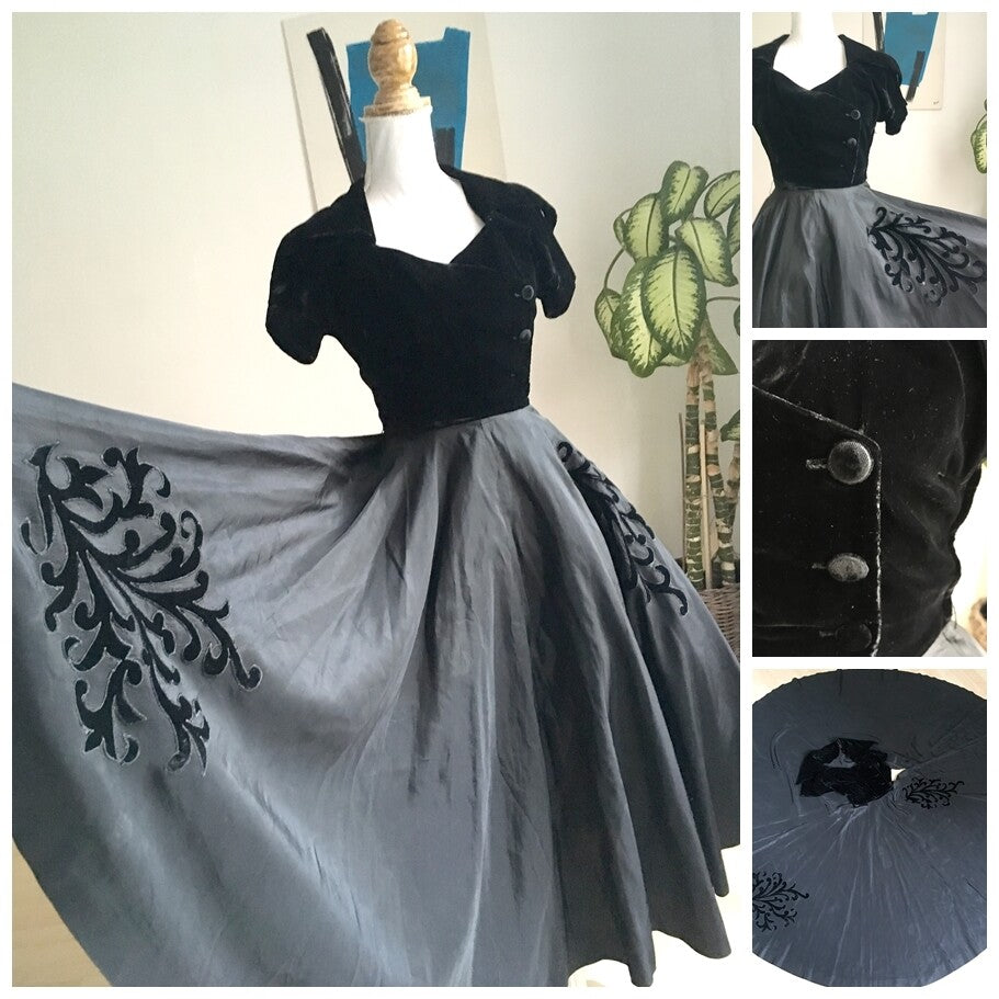 1940s 1950s - Spectacular Black Full Circle Skirt Night Dress - W24 (60cm)