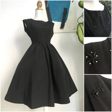 Load image into Gallery viewer, 1950s - Elegant Beaded Black Soft Taffeta Cocktail Dress - W27 (68cm)