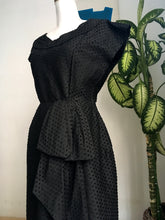 Load image into Gallery viewer, 1940s 1950s - Cathy Blatt, France - Stunning Black Dotted Wiggle Dress - W27 (68cm)
