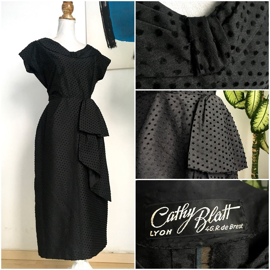 1940s 1950s - Cathy Blatt, France - Stunning Black Dotted Wiggle Dress - W27 (68cm)