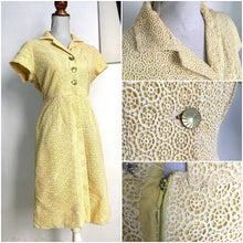 Load image into Gallery viewer, 1950s - Sweet Vanilla Cotton Crochet Dress - W29 (74cm)