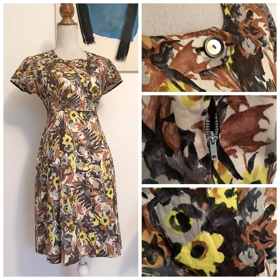 1950s - Cute Abstract Floral Print Cotton Dress - W29 (74cm)