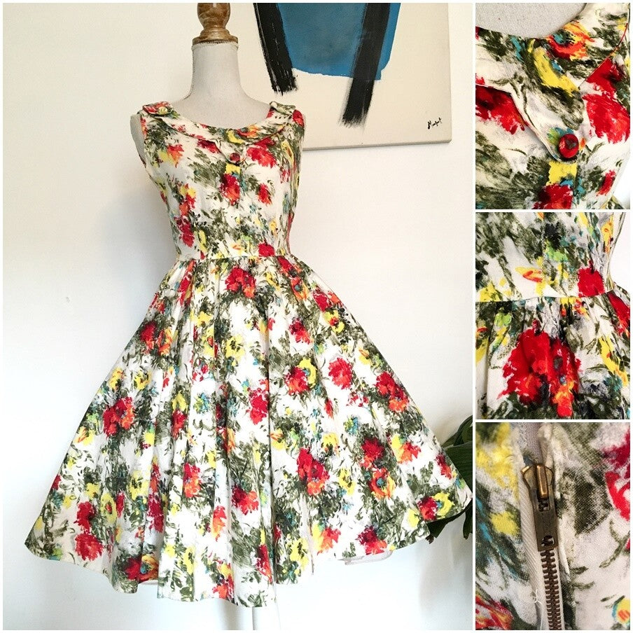 1950s - Stunning Abstract Floral Cotton Day Dress - W26 (66cm)