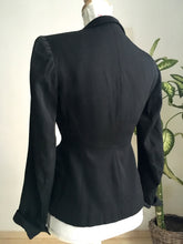 "Load image into Gallery viewer, 1940s - Jane-Jane, France - Stunning Couture Black Gabardine Rayon Jacket - W25"" (64cm) - 26"" (66cm) tight"