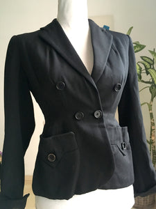 "1940s - Jane-Jane, France - Stunning Couture Black Gabardine Rayon Jacket - W25"" (64cm) - 26"" (66cm) tight"