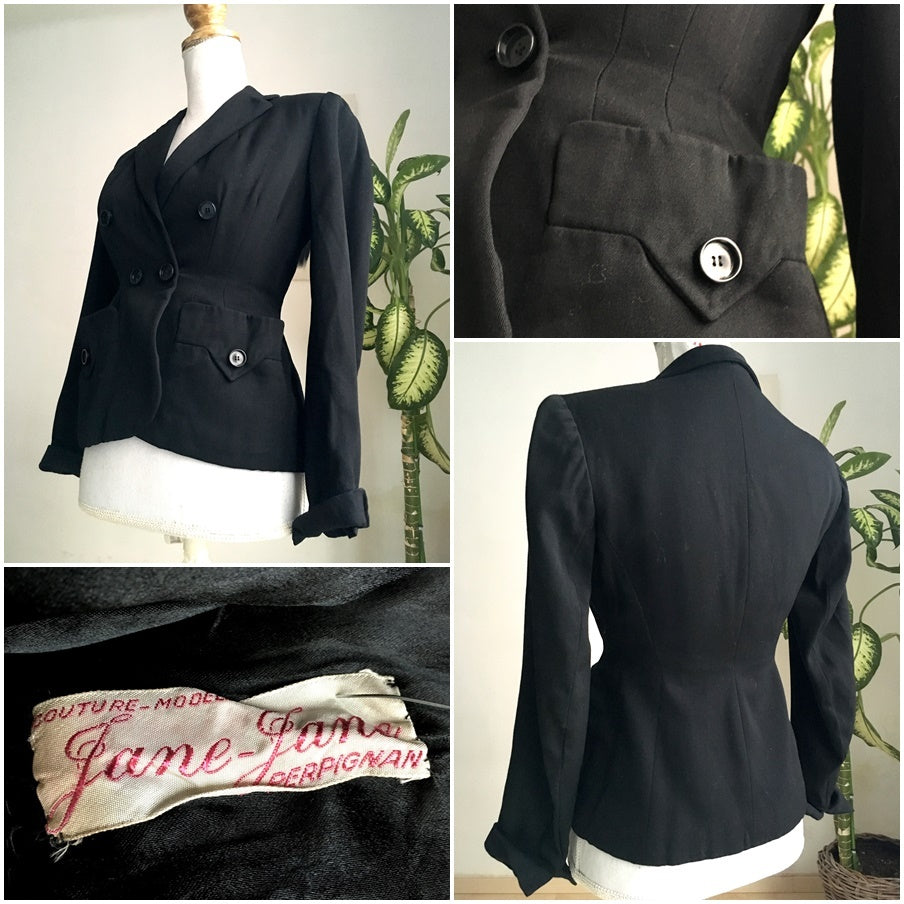 1940s - Jane-Jane, France - Stunning Couture Black Gabardine Rayon Jacket - W25