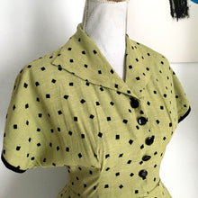 Load image into Gallery viewer, 1940s - Fabulous Olive Green Rayon Black Diamonds Dress - W28 (70cm)