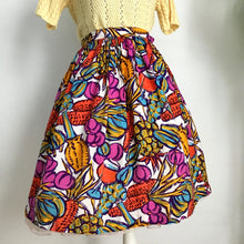 Load image into Gallery viewer, 1950s - Precious Novelty Print Fruits Wine Rayon Skirt - W26 (66cm)