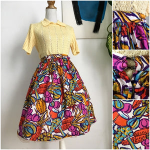 1950s - Precious Novelty Print Fruits Wine Rayon Skirt - W26 (66cm)