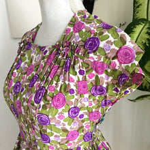Load image into Gallery viewer, 1940s 1950s - Precious Vibrant Purple Floral Silk Dress - W28 (72cm)