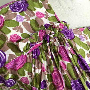 1940s 1950s - Precious Vibrant Purple Floral Silk Dress - W28 (72cm)
