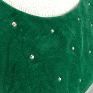 1950s - Shirley Lee, USA - Stunning Green Velvet Rhinestones Dress - W23.5 (60cm)