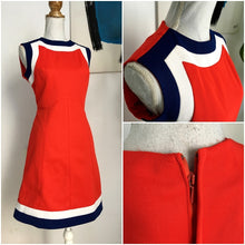 Load image into Gallery viewer, 1960s - Fabulous Red/Navy/White Mod Dress - W33 (84cm)