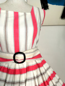 1950s - Spectacular Pink & White Dotted Belted Dress - W28 (72cm)