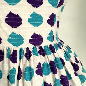 1950s - Stunning Abstract Purple Day Dress - W27 (68cm)
