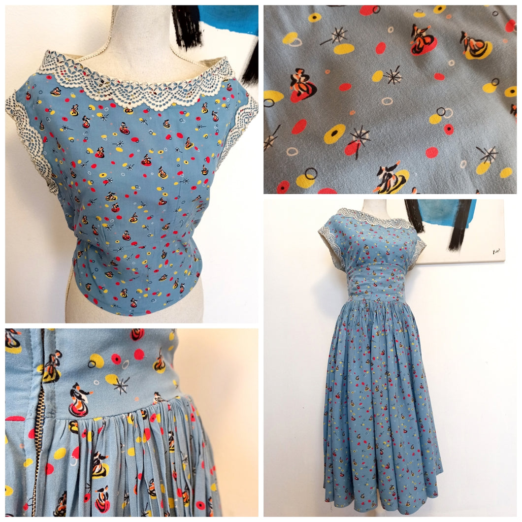 1940s - 2pc Novelty Print Rayon Skirt & Top - W27.5 (70cm)
