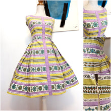 Load image into Gallery viewer, 1950s - Sweet Purple Lime Springtime Cotton Dress - W28 (72cm)