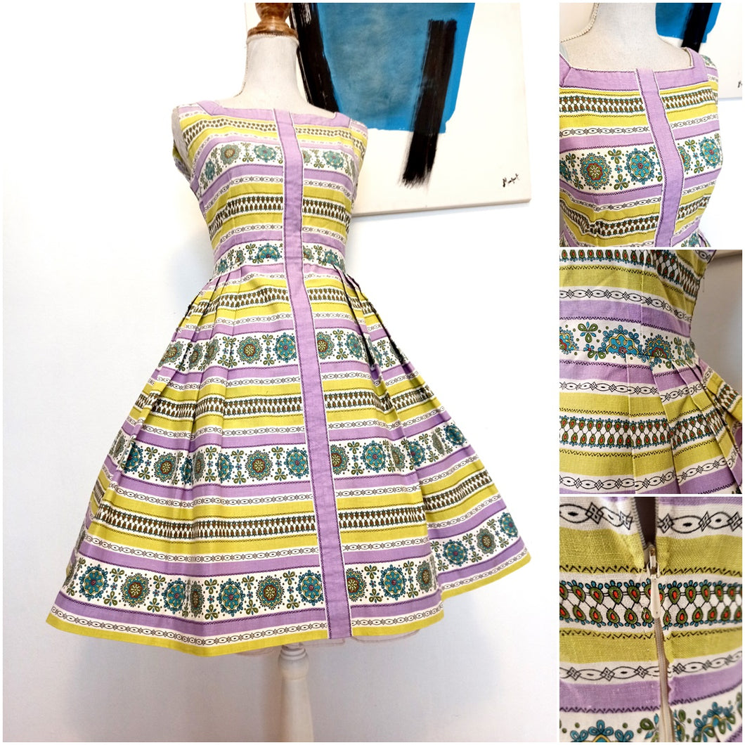 1950s - Sweet Purple Lime Springtime Cotton Dress - W28 (72cm)