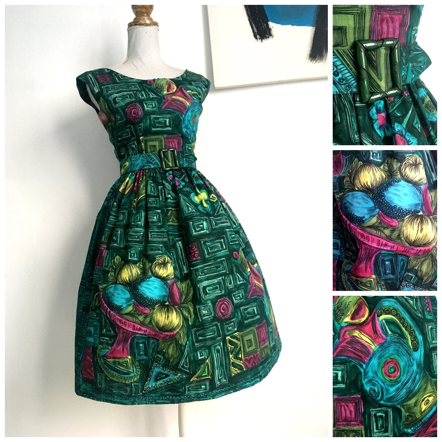 1950s - Fabulous Novelty Print Belted Dress - W24.5 (62cm)