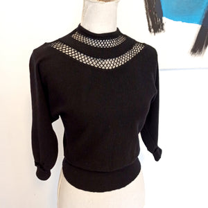 1940s - Stunning Black Soft Wool Hollywood Sweater - Sz S/M