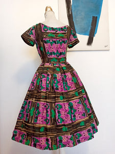 1950s - Gorgeous Wood & Flowers Print Cotton Dress - W27 (68cm)